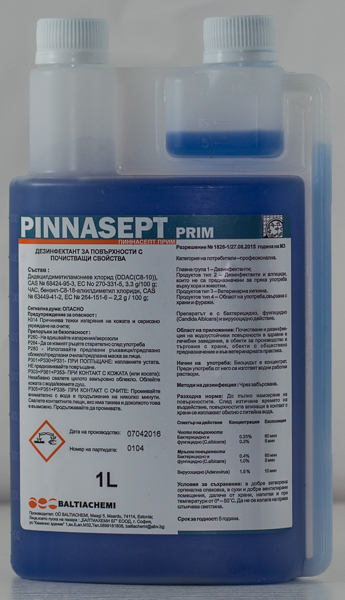 Дезинфектант за повърхности концентрат Pinnasept Prim 1l с дозатор